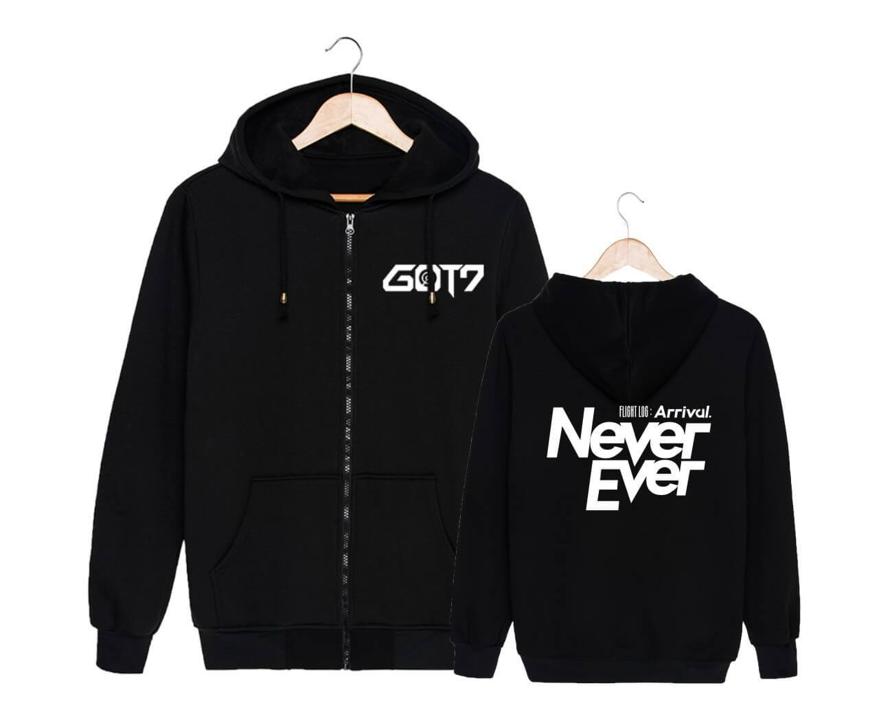 GOT7 FLIGHT LOG ARRIVAL Cotton Casual Zipper Hoodie