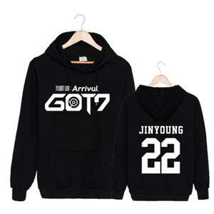 GOT7 FLIGHT LOG ARRIVAL Member Name Printed Cotton Hoodie