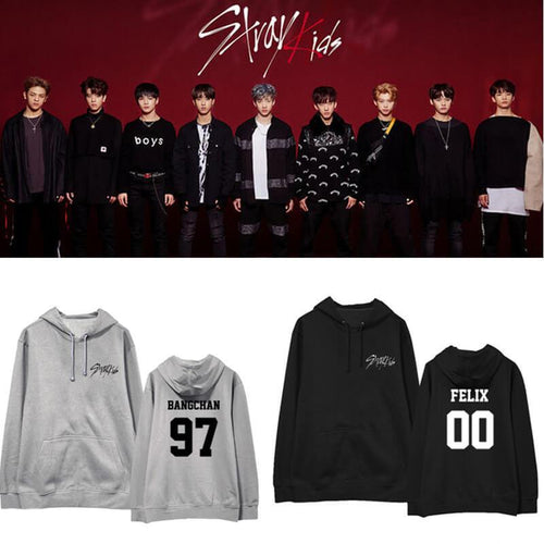 Stray Kids Member Name Printed Cotton Casual Hoodie