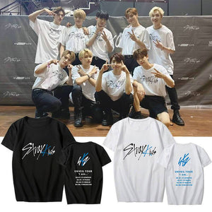 Stray Kids Unveil Tour Concert Printed Casual T-shirt
