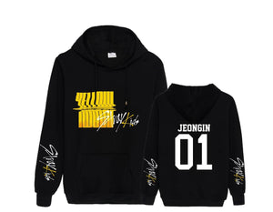Stray Kids Yellow Wood Member Name Printed Cotton Hoodie