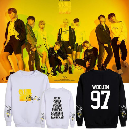 Stray Kids Yellow Wood Printed Cotton Sweatshirt