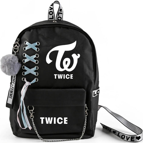 TWICE Korean Member Printed Ribbon Backpack
