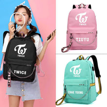 Load image into Gallery viewer, TWICE Korean USB Charging Large Capacity Casual Backpack