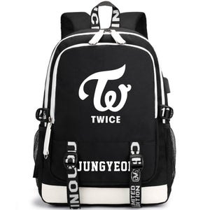 TWICE Large Capacity USB Charging Canvas Backpack