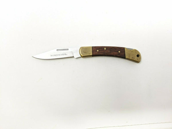 Winchester Lockback Folding Pocket Knife Wood and Brass Handle Stainless Steel