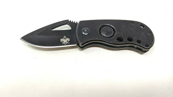 Off Grid Fat Boy Folding Pocket Knife w/Boy Scouts Symbol On Blade Full SS Black
