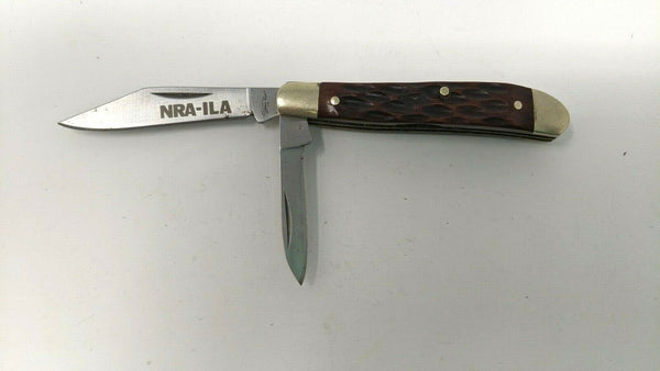 NRA-ILA Stone River 2-Blade Small Folding Pocket Knife JIgged Bone 3 Pin Handle