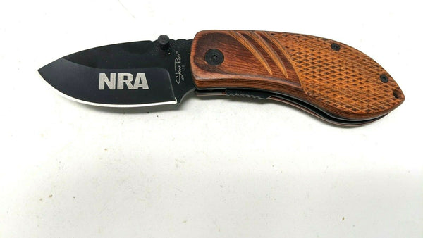 Stone River Stubby NRA Folding Pocket Knife Wood Handle Black Stainless Steel