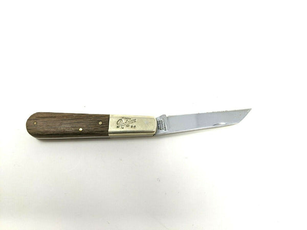 Joseph Rodgers Sheffield England Lambsfoot Blade Folding Knife Wooden Handle