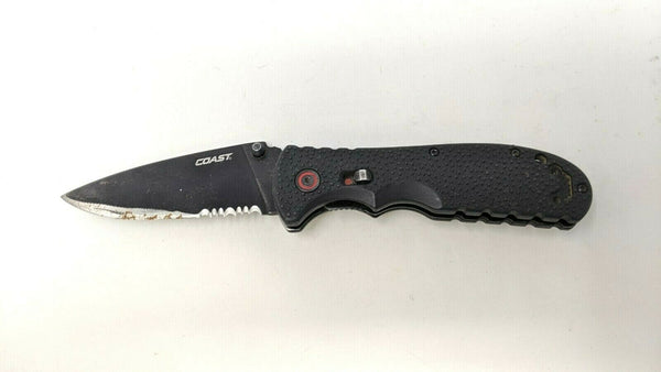 Coast Model RX350 Folding Pocket Knife Stainless Steel Assisted Combo Nylon BLK