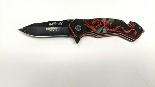 MTech USA Dragon Strike MT-759 Folding Pocket Knife Rescue Red Anodized Aluminum