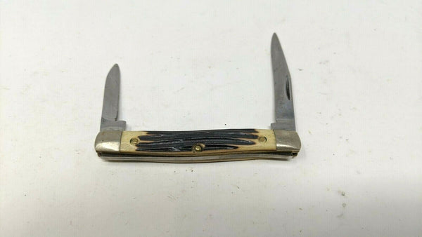 Vintage Queen Steel #43 Folding Pocket Knife 2 Blades 1960-72 Delrin Resharpened