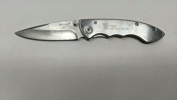 "Maxam Stainless Steel Folding Pocket Knife Plain Edge Frame Lock ""Various"""