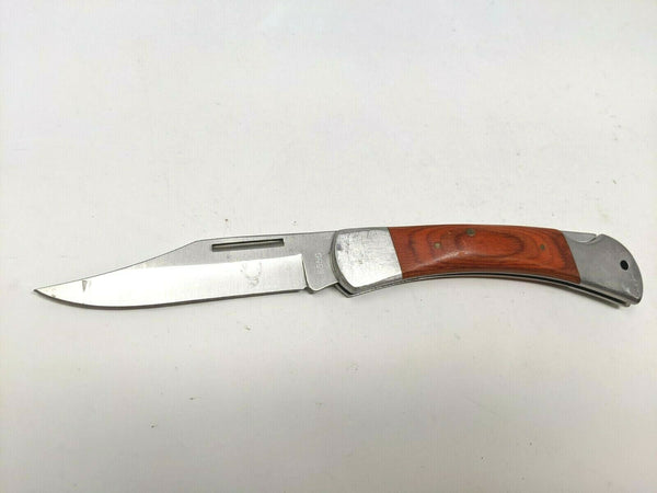 The Bone Edge Cutlery #6550 Folding Pocket Knife Stainless/Wood Handle Framelock