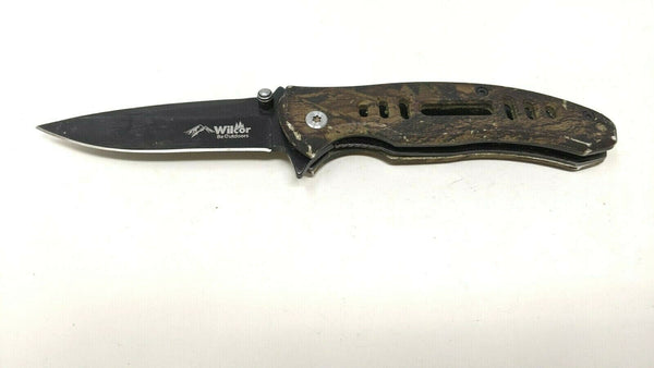 Wilcor Be Outdoors Folding Pocket Knife Plain Edge Liner Lock Rubber Coated Camo