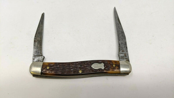 Vintage Schrade #787 Improved Muskrat Folding Pocket Knife 2 Blade Jigged Delrin