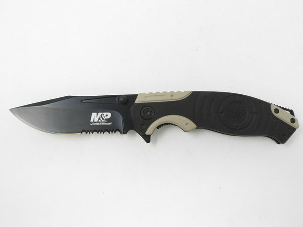 Smith & Wesson M&P Tan/Black SWMP13BS Combination Blade Knife
