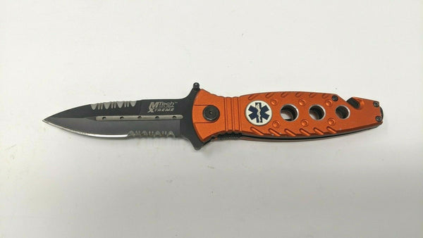 MTech USA Xtreme EMS Rescue Folding Pocket Knife Liner Aluminum Dagger Point Red