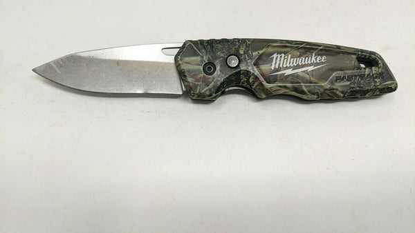 Milwaukee Fastback Fall Camo Folding Pocket Knife Plain Edge Liner Lock *Damage*