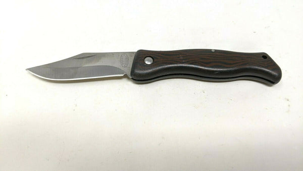 Frost Cutlery Folding Pocket Knife Black Finger Grip Plastic Handle Plain Edge