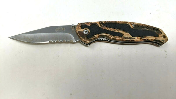 Master USA Folding Pocket Knife Liner Lock Combo Edge Camo G10 w/Delrin Inserts