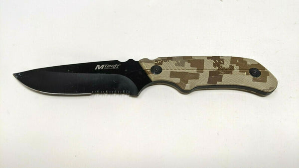 M-Tech USA Fixed Blade Knife 440 Stainless Camo Coated Aluminum Handle Combo
