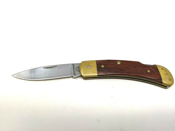 Craftsman USA Lockback #95231 Folding Pocket Knife Wooden Handle With Brass
