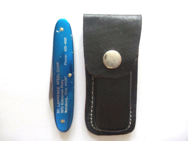 Vintage Victorinox Rostfrei Elinox Blue Swiss Army Knife w/ Leather Sheath