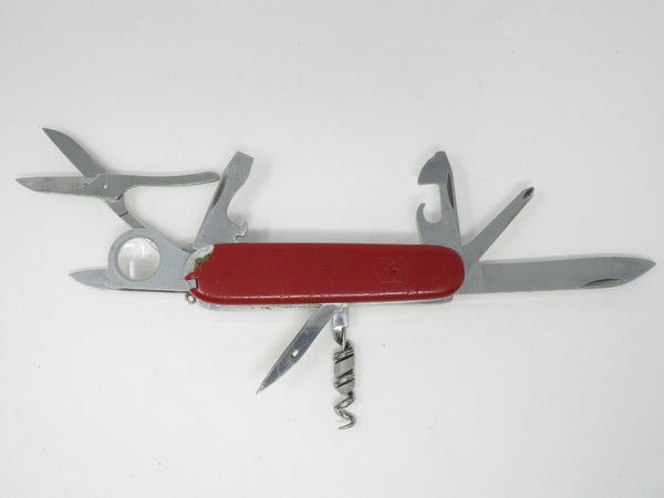 Victorinox Pocket Knife Red Multi-Tool Officier Suisse w/ Mag Glass *Damaged*