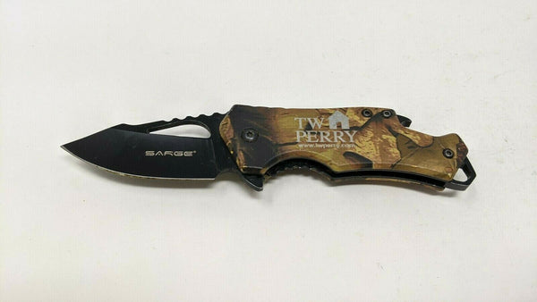 Sarge SK-502Camo Folding Pocket Knife Liner Lock Assisted Anodized Aluminum