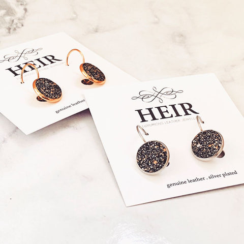 Galaxy Leather Studs with lever backs - Heir Jewellery
