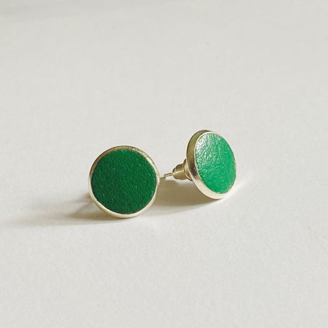 Green Leather Studs - Heir Jewellery
