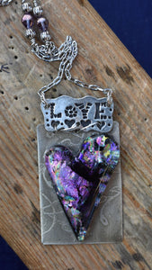 Love Resin Charm Heart Necklace