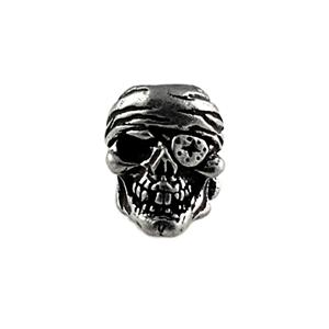 Sh801 One Eyed Jack Pewter Skull Bead - Jantz Supply
