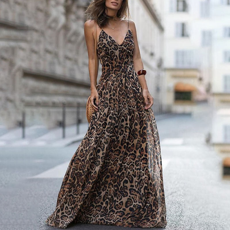 Women's Leopard V-neck Sling Dress Maxi Dress Sexy Leopard Print High Waist V-Neck Long Dress Female Elegant Dress