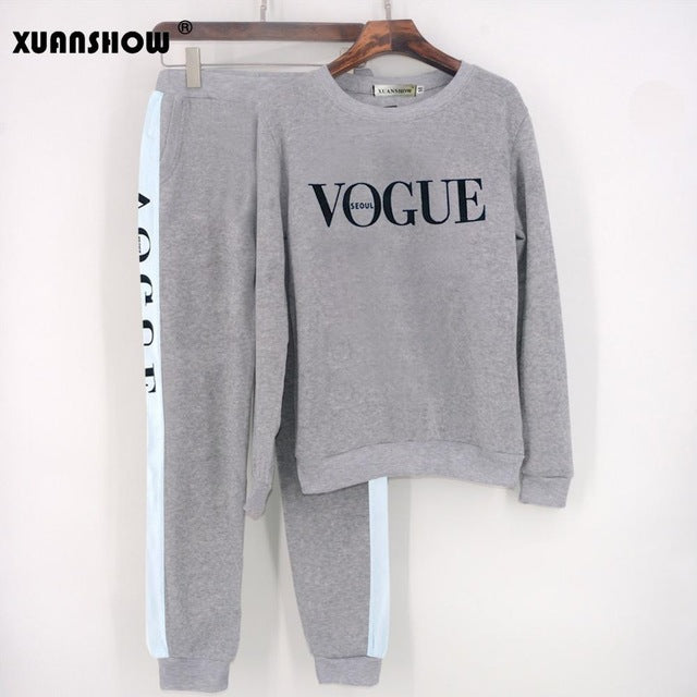 XUANSHOW Tracksuit 2019 Autumn Winter Women's Suit VOGUE Letter Printed 0-Neck Sweatshirt + Patchwork Long Pant 2 Piece Set