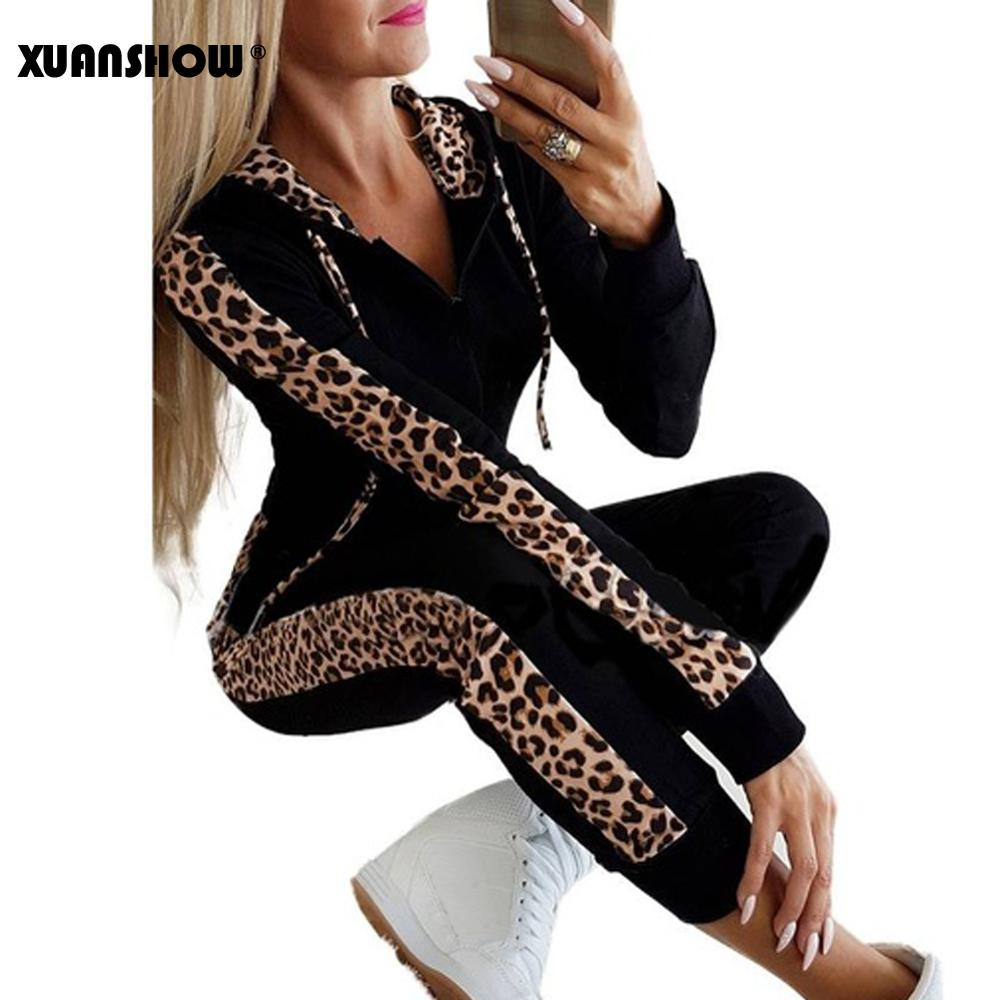 XUANSHOW Autumn Winter Fashion Tracksuit Women Splice Fleece Leopard Print Coat with Hood Two Pieces Set Hoodies Long Pants Suit
