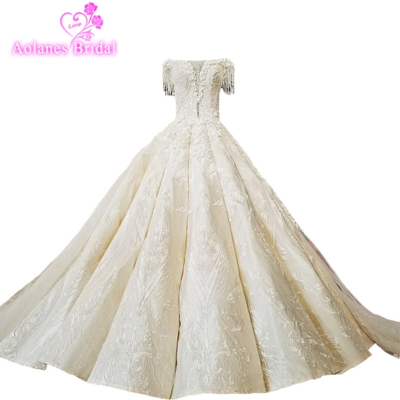 AOLANES 2018 Champagne Lace Sleeveless Bridal Gowns Long Train Lace Up Ball Gown Vintage Wedding Dresses Vestido De Noiva