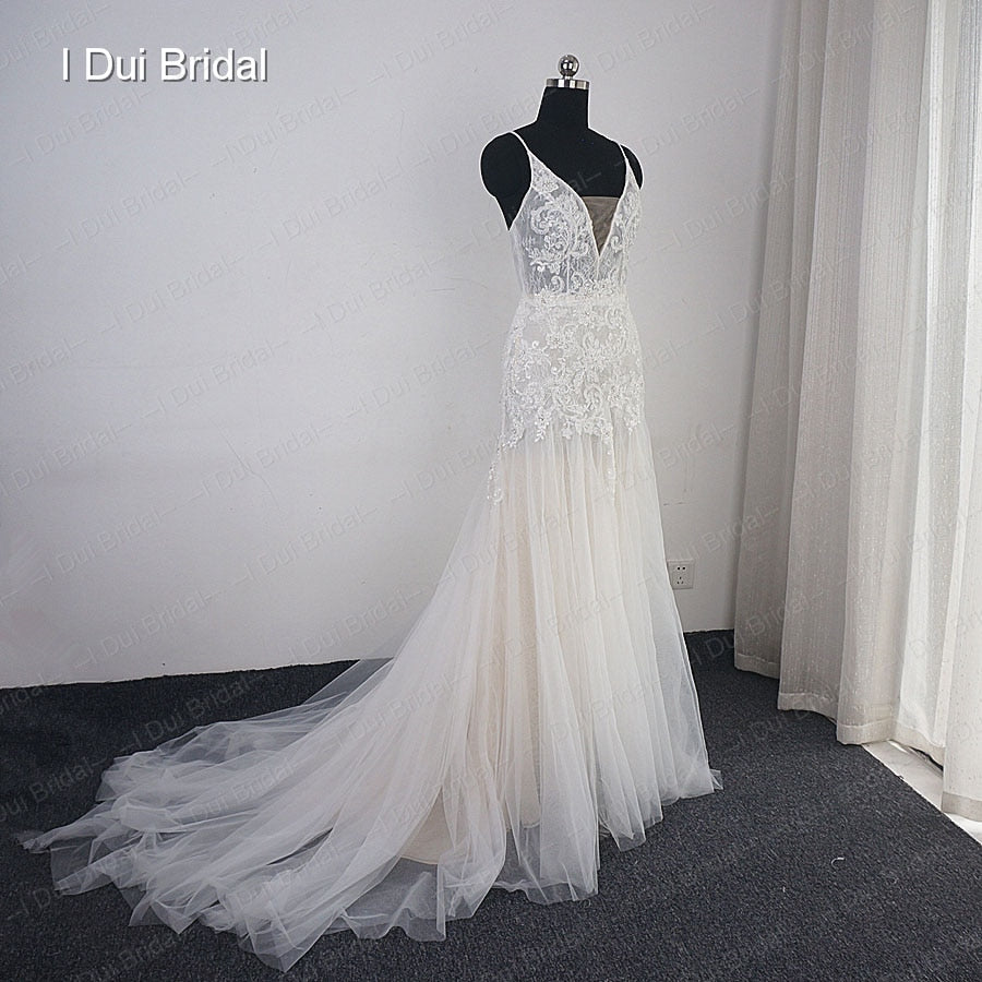 Sheath Boho Wedding Dress Champagne Lining Lace Appliqued Beaded Bridal Gown Beach Wedding Light Dress