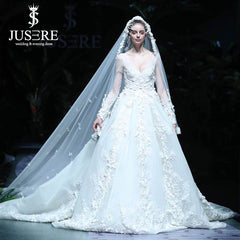 Luxury Beading Flowers Bridal Dress Cathedral Long Train V Neckline Illusion Long Sleeves Big A line Bridal Wedding Dress 2019