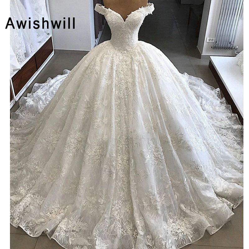Vestido de Noiva Gorgeous Wedding Dresses 2019 Puffy Cap Sleeve Ball Gown Arabic Lace Bridal Wedding Gown Vintage