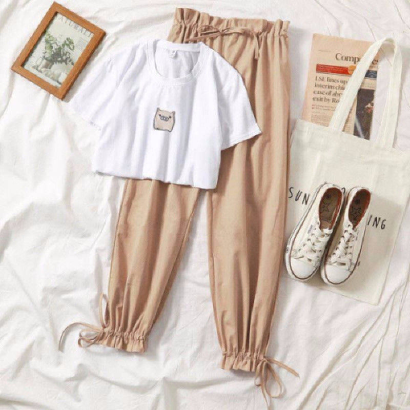 Two piece set summer clothes for women 2019 new dresy damskie fashion casual wide leg pants print t shirt 2 piece set women