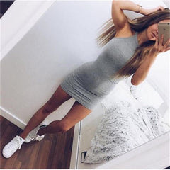 Women Ladies Bandage Dress 2019 New Bodycon Halterneck Evening Sexy Party Mini Short Dress
