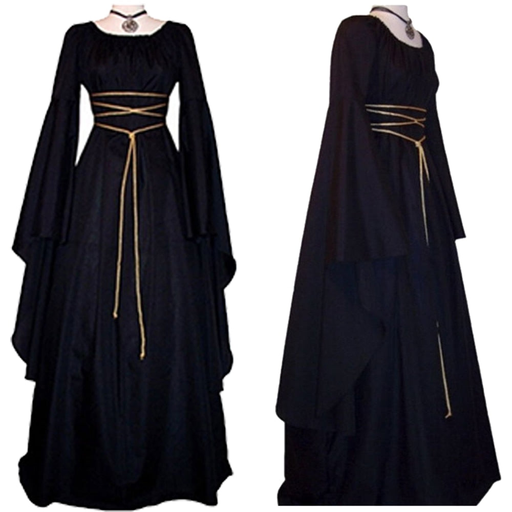 Women Gown Halloween Ruffled Dress Evening Party Long Sleeve Gothic Medieval Crew Neck Ladies Party Cosplay Dress