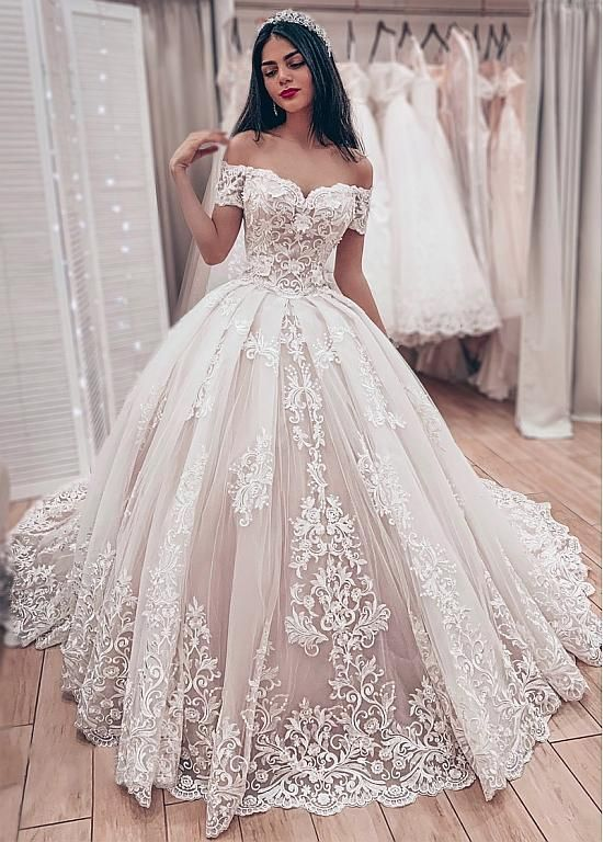 Gorgeous Lace Ball Gown Wedding Dresses 2019 Sweetheart Off The Shoulder Appliques Lace Up Back Muslim Bride Wedding Gowns