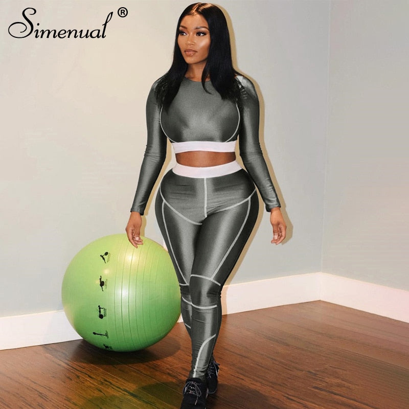 Simenual Fitness Sporty Active Wear Tracksuits Women Casual Fashion Workout 2 Piece Sets Long Sleeve Top And Leggings Set Solid