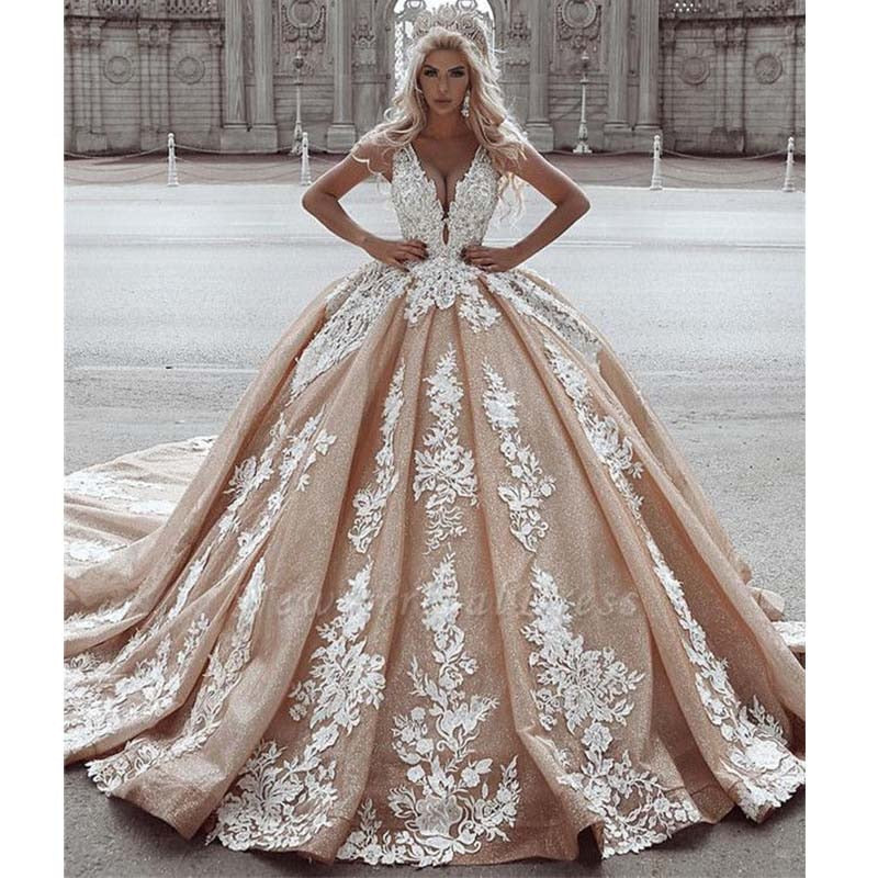Robe De Mariee 2019 Sexy Deep-V-Neck Ball Gown Wedding Dress Sleeveless Appliques Long Train Beidal Wedding Gowns