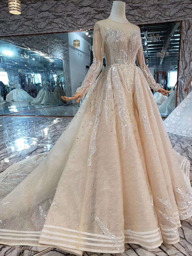 Mermaid Wedding Dresses Brush Train O Neck Long Sleeves Simple Trumpet Bridal Dresses Detachable Train MD11845#