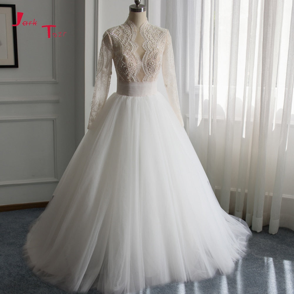 Jark Tozr Custom Made High Neck Full Sleeve Lace Beading Sequins A-line Bridal Wedding Dresses 2019 China Vestido De Casamento